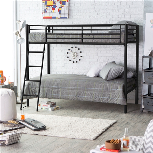 Strong and sturdy, this Twin over Twin Bunk Bed in Black Metal Finish with Ladder and Safety Rails is designed to last years, whether it's being played on, used in a guest room, or is a bunk for your children. Sleek and modern, this bed has a classic white finish which matches almost any decor. This bunk bed meets ASTM and CPC safety specifications, has a ladder which attaches to the frame for added safety and a guardrail that runs the length of the top bunk. A beautiful addition to any room, you and your kids will love this bunk bed. Adult Assembly Required; Gender Neutral; Type Kids Loft Beds; Warranty 1 Year Limited.