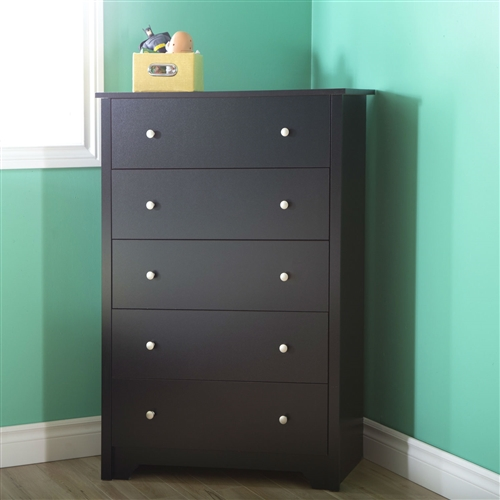 This Eco-Friendly 5-Drawer Bedroom Chest in Black Wood Finish and Nickle Finish Knobs incorporates style and utility in a striking fashion that is hard to miss. The classic traditional appeal of this chest sits well with all types of home interiors and has a natural aura that blends beautifully with any surrounding. Sporting a unique nickel finish, this chest is made from 100% recycled wood. This drawer chest is an exquisite combination of design with functionality. This Eco-Friendly 5-Drawer Bedroom Chest in Black Wood Finish and Nickle Finish Knobs features 5 deep drawers and each drawer is equipped with 2 knobs for a firm grip. The Smart Glide technology lets you open and shut them with ease. It features panels that are Environment Preferred Product (EPP) certified. Product Type: Standard chest (vertical); NonToxic: Yes; Drawer Interior Finish: Beige; Drawer Glide Material: Plastic; Drawer Glide Extension: 0.75 extension; Joinery Type: Butt; Hardware Finish: Nickel finish handles.