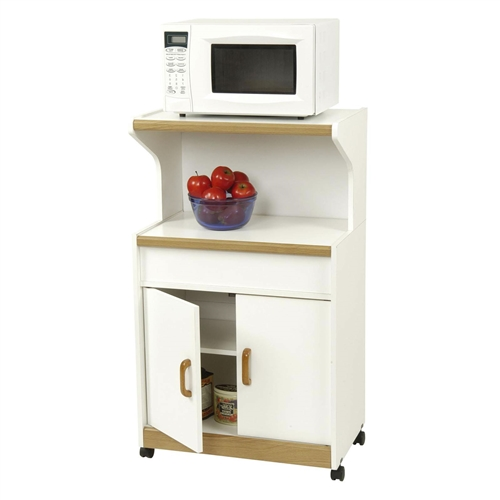 "Constructed of sturdy wood composite, this Kitchen Utility Microwave Cart in White & Medium Oak with Lower Storage is a compact furnishing solution well-suited for any kitchen space. This work center features a bright white finish with subtle medium oak accents that works well with any existing design scheme. The large, lower double-door storage area is a perfect place for pantry items, dishes, or anything else that needs to be stored. Easy-roll casters make it simple for you to move this piece when cleaning or for whenever you happen to be in that ""redesign mood."" Equipped with solid wood handles, this piece is built to last for years to come."