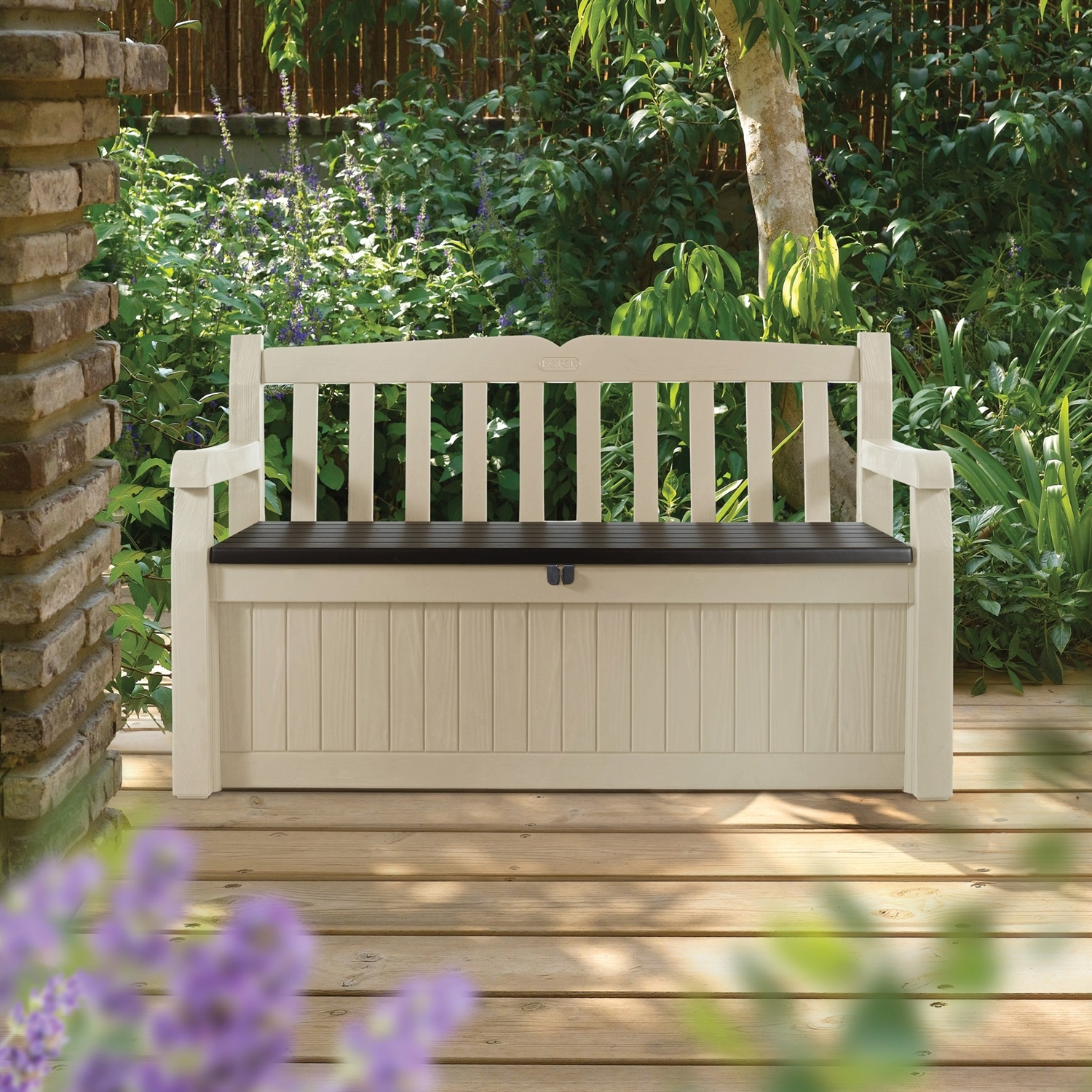 Beige Resin Eco-Friendly 70-Gallon Outdoor Garden Bench Deck Box, KE70GDB112 :  This Beige Resin Eco-Friendly 70-Gallon Outdoor Garden Bench Deck Box would be a great addition to your home. It is ideal for all your storage needs, indoors or out. Garden bench box; Comfortably seats two adults; Lockable, attractive styling, beautiful design; Keeps contents dry and ventilated; Will not rust, dent, or peel; Material: Resin; Assembly Required: Assembly required; Product Warranty: 2 Years; Finish: Beige; Lock Mechanism: Yes; Hinged Top: Yes; Armed: Yes; Storage Capacity: 70 Gallons.