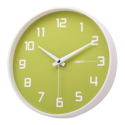 Silent Non-Ticking Wall Clock in Key Lime and White, LKLNSWC2218 :  Adorn any room with this Silent Non-Ticking Wall Clock in Key Lime and White! The white Arabic numerals contrast with the green background for clear view and because it has all three hands, this clock will give you an accurate read on time down to the second so you don't need to second-guess yourself. The clock's simplicity in design offers quick and easy installation. All you have to do is insert a single AA battery (included), and the back slot makes it easy to hang. Another great thing about this clock is that it's even easier to maintain! It's super easy to clean because the clock is cased with a flat lens that covers and protects the face from dust and debris. The clock is silent so you don't need to worry about the constant ticking of regular clocks when you need some peace and quiet to concentrate on your work or enjoy a full night of undisturbed sleep. Add some color in your room with a clock that's both practical and stylish.