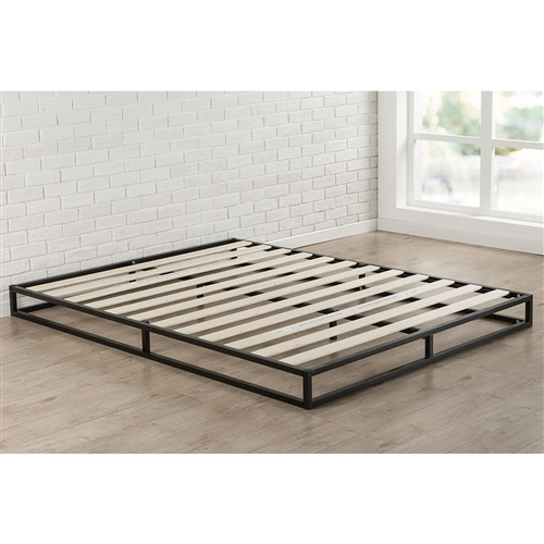 This King size 6-inch Low Profile Metal Platform Bed Frame with Wood Slat Mattress Foundation is designed for strength and style. Perfect for higher profile mattresses or those preferring a modern style. The extra strength steel framed mattress foundation features wooden slats that provide strong support for your memory foam, latex, or spring mattress. 10 inches high and compatible with or without a box spring. Easy to assemble and arrives in a narrow box to make moving through hallways and upstairs easier.