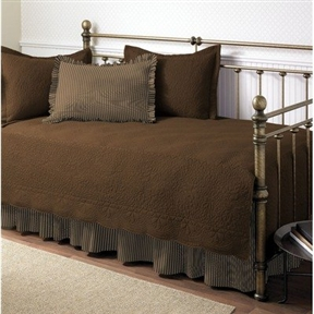 This Chocolate 5-Piece Daybed Set with Quilt, Shams, and Bed Skirt will complete any room. The set includes a Embroidered quilt with scalloped edges, 2 tailored quilt shams, one plaid standard sham with a 2inch ruffle on all edges and a bed skirt with ruffles that feature split corners with overlap. This complete bed set will instantly update your room.