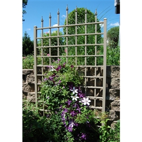 8 Ft Vinyl Trellis in Mocha Brown with Wall Mounting Hardware, DWVTM11528 :  A classic grid design and decorative arrow-tip detailing make this 8 Ft Vinyl Trellis in Mocha Brown with Wall Mounting Hardware a excellent way to dress your garden wall in nature's beauty. It's crafted of maintenance-free PVC so is easy to clean, has a soft mocha finish that won't crack, fade, split, or warp, and it even includes a 20-year manufacturer's warranty. Set-up is easy, and then simply plant climbing flowers, grape vines, or ivy at the base and let nature take over. It would also make a charming outdoor privacy screen.