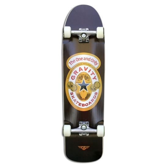 35-inch Pool Model Brown Ale Complete Skateboard by Gravity, GRAVITY_35IPMBA :  If you skate with some new school and old school flav then this 35-inch Pool Model Brown Ale Complete Skateboard by Gravity is for you. With it's directional shape, longer wheel base and beefier outline your going to love. Tear it up at parks and pools or just cruise around on it. This board does it all. Price includes complete skateboard, trucks, bearings, risers, wheels, board, and grip tape; Wood: 7 Ply Hardrock Maple.