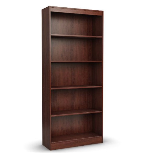 Ideal for your binders, books or decorative items, this Contemporary 5-Shelf Bookcase Bookshelf in Royal Cherry Wood Finish with its three adjustable shelves can meet your every need. Its pure black finish and refined lines harmonize seamlessly with virtually any decor. Back is unfinished
