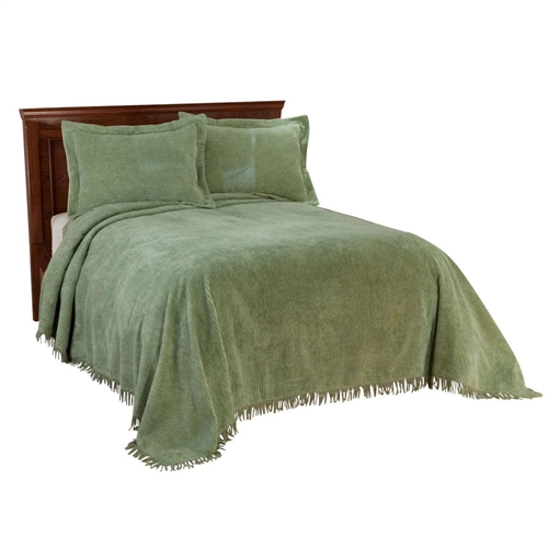"This Twin size Sage Green Cotton Chenille Bedspread with Fringe Edge is an extraplush, 100 cottonribbed chenille bedspreads with additional 3"" fringe adds soft, cozy warmth for supreme sleeping. Available in twin, 108"" long x 80"" wide; full, 108"" long x 96"" wide; queen 115"" long x 102"" wide; king 105"" long x 118"" wide. Machine wash cold with like colors, tumble dry low. Imported. Shams sold separately."