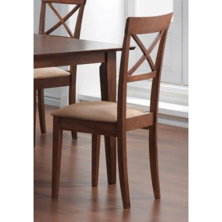 """This Set of 2 - Walnut Finish Cross Back Dining Chairs with Fabric Seat would be a great addition to your home. Finish: Walnut and Beige. Material: Hardwood and Fabric. Set of 2 """"X"""" Back Design Dining Chairs. Chairs feature a cushioned upholstered seat with wood """"X"""" back. Matching dining table (#101280 or #101281), Buffet/Hutch (#101284) and. buffet (#101284b) are sold separately.Assembly required."""