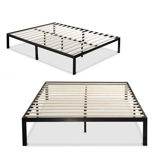 This Queen size Black Metal Platform Bed Frame with Wood Slats - No Box-spring Needed features wooden slats that provide strong support for your memory foam, latex, or spring mattress. This Platform Bed is 14 inches high with clearance under the frame for valuable under bed storage. Openings in two of the legs allow for attaching a headboard to this Platform bed. Headboard and Mattress not included. The Queen size Black Metal Platform Bed Frame with Wood Slats - No Box-spring Needed provides stylish and strong support for your mattress. Plastic feet protect your floors; Worry free 5 year limited warranty.