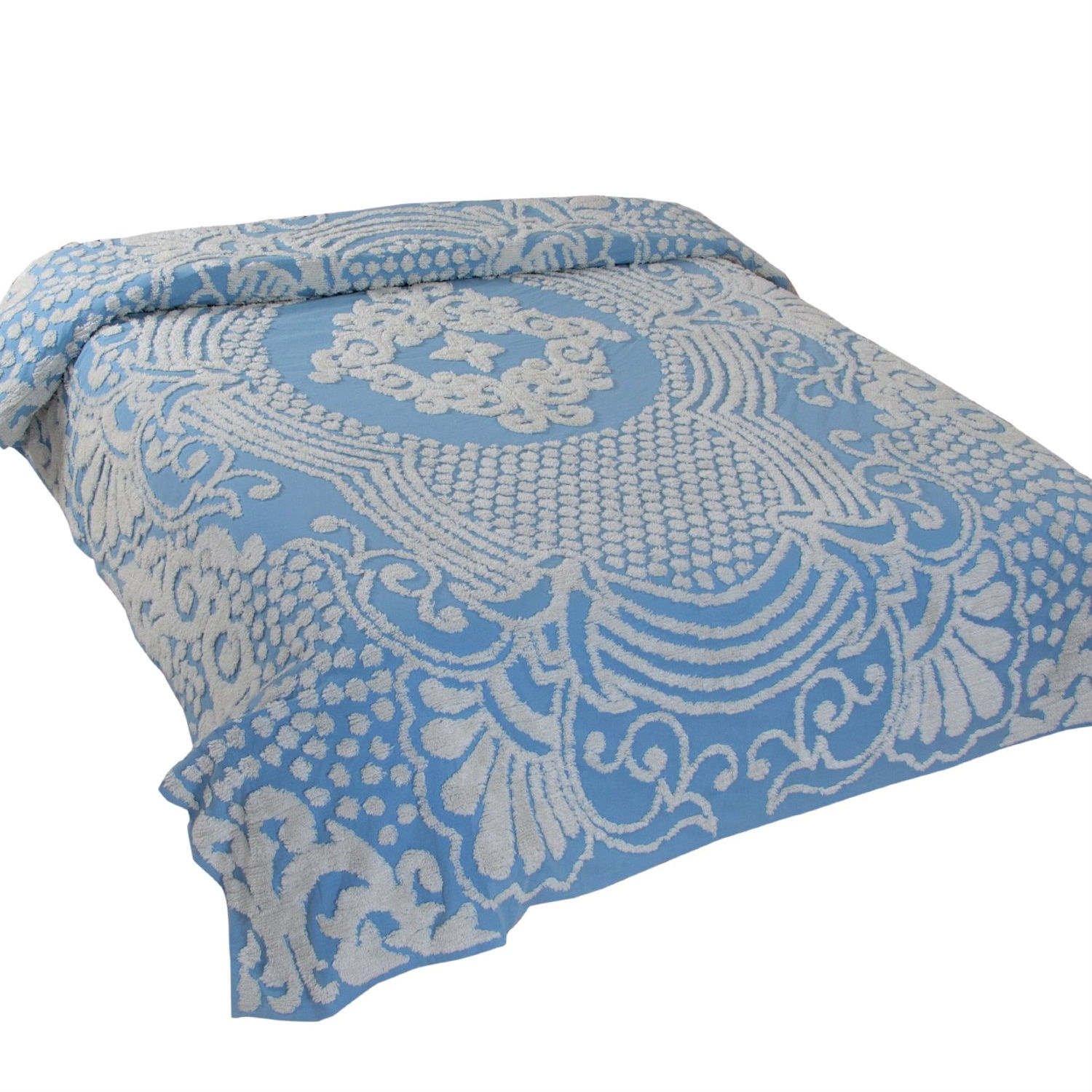This Queen size 100% Cotton Tufted Chenille Bedspread with Blue Damask Medallion would be a great addition to your home. It is a lovely shabby chic accent to any bedroom. The bedspread comes all the way to the floor with its full cut drop. The sizes are overcut as the twin is 81x110 Inch, the full is 96x110 Inch, the queen is 102x110 Inch, the king is 120x110 Inch. The bedspread comes in 3 colors that can coordinate and work in any bedroom. The colors include blue, sage and pink. There is also a standard sham 21x27 with a 2 inch flange in all 3 colors to coordinate with the bedspreads and are sold separately.
