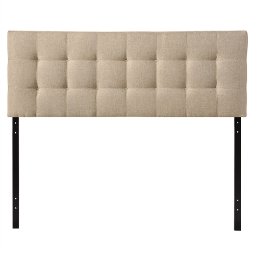 "Introduce some boxy pizazz with the lavish design of this Queen size Beige Fabric Modern Tufted Upholstered Headboard . Intended to be versatile for a wide range of modern bed styles, it's deep button tufting, and carefully aligned trim, present a uniform piece meant to cast prominence upon your room. Fully upholstered in padded fabric, it has a narrow piece meant to convey a strong sense of expansiveness within your entire surroundings. Set Includes: One - Headboard Product Dimensions: Overall Product Dimensions: 3.5""L x 61.5""W x 22.5""H Bedframe Mounting Location: 4.5 - 8.5""H Mounting Location A - Height to Top of Headboard: 52.5""H Mounting Location A - Height to Bottom of Headboard: 30.5""H Mounting Location B - Height to Top of Headboard: 50""H Mounting Location B - Height to Bottom of Headboard: 28""H Mounting Location C - Height to Top of Headboard: 47.5""H Mounting Location C - Height to Bottom of Headboard: 25.5""H Mounting Location D - Height to Top of Headboard: 45""H Mounting Location D - Height to Bottom of Headboard: 23""H Floor to Top of Headboard: 45.5 - 53""H Floor to Bottom of Headboard: 23 - 30.5""H."