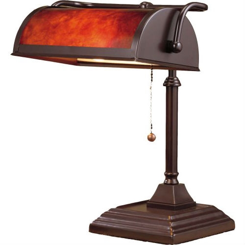 Great for your office or a kitchen nook, this Classic Style Bankers Lamp with Mica Shade Table Desk Lamp has a dark coffee painted finish with a mica shade. It accepts a maximum 60-watt T-type bulb (not included), and it has a pull chain on/off switch. Style Classic; Color Dark Coffee; Material Metal; Shade Color red; Light Direction Uplight; Power Source corded-electric.