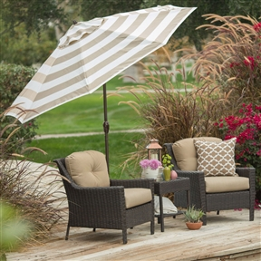 9-Ft Market Umbrella with Tilt and Crank with Beige and White Stripe Canopy, CPU5487412 :  Spending time outdoors just got better with this 9-Ft Market Umbrella with Tilt and Crank with Beige and White Stripe Canopy. This beautiful umbrella features a crank lift aluminum pole and ribs which are finished in a powder-coated bronze for added longevity. Continue moving the crank to use the auto-tilt feature to easily adjust the pitch of the umbrella to continually protect you from the sun. Its Olefin fabric, in your choice of gorgeous colors, is tough and hardwearing and made to last. Commercial Grade No; International Shipping Canada; Number of Ribs 8; Pole Finish Bronze; Pole Material Aluminum; Tilt Auto Umbrella; Shape Round; Warranty 1 Year Limited. Fabric is tough and hard-wearing, made to last.