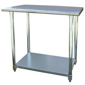 This Stainless Steel Top Utility Table Work Bench with Adjustable Shelf - 2ft x 3ft is the perfect addition to your kitchen, garage, or basement. Ideal for cooking and working without making your back ache. Attractive contemporary design fits into any decor.
