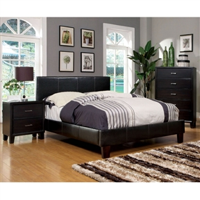 Give your bedroom a stately makeover with this Queen-size Upholstered Platform Bed with Headboard in Dark Espresso Faux Leather. Modern bed features clean lines and polished surfaces with just a touch of leatherette upholstery to toughen the look. Structured and generously padded headboard blends beautifully with the low profile footboard and rails. Exposed block feet have an espresso finish. Bed internal frame is made of selected solid woods for structural rigidity. Mattress ready platform bed comes with European style slat kit. Bed comes in a wide range of colors for your bedroom selections: Gray, White and Dark Espresso. Assembly Required. All decor items are not included in this offer unless specified.