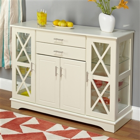Create more space in your dining room or living room with this White Wood Buffet Sideboard Cabinet with Glass Display Doors that will match with any decor. This buffet offers both glass and solid doors a classic style. The X style door features two adjustable tempered glass shelves on each side. Constructed of MDF and tempered glass. Adjustable Interior Shelves: Yes; Base Finish: White; Distressed: No; Glass Doors: Yes; Base Material: Manufactured wood; Top Material: Manufactured wood; Solid Wood Construction: No; Display Case: Yes; Drawers Included: Yes; Cabinets Included: Yes; Shelves Included: Yes; Doors Included: Yes.