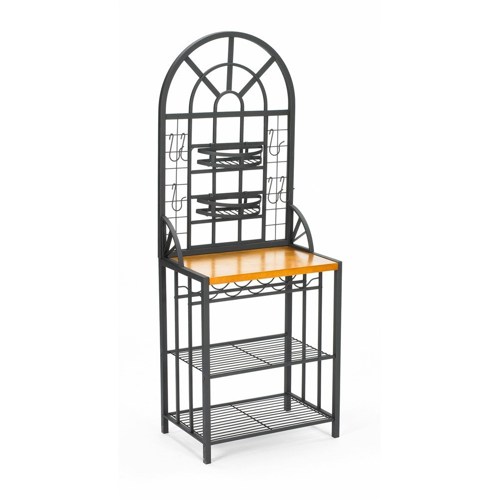 This Black Steel Bakers Rack with Utility Hooks and Storage Shelving adds functional storage and display space. Get creative and arrange plants or spices in the two stylish adjustable basket shelves. Six utility hooks are included that can be moved around and used for anything that you can imagine. Constructed of solid tubular steel and covered in a durable black finish, this contemporary baker's rack is as durable as it is versatile. The golden oak workspace is laminated to give the appearance of a solid butcher-block countertop. Hidden under the counter, a rack for five bottles of wine and two full-sized wire shelves creates ample storage for plates, bowls, and jars. Expand your storage options by adding this creative baker's rack to your kitchen today.