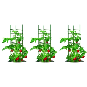 3-Pack of Tomato Plant Cage Climbing Fruit Veggie Garden Trellis,  GBR29485183 :  This 3-Pack of Tomato Plant Cage Climbing Fruit Veggie Garden Trellis has been designed specifically for growing tomato plants and other climbing fruits and vegetables. Each cage is comprised of three 5' heavy-duty Sturdy Stakes and nine fully-adjustable support clips for continuous support throughout the plant's growth. The stakes of this cage have a strong steel core and tough, thick plastic coating. This three pack is great for any garden.