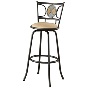 This Set of 2 - Adjustable Height Contemporary Swivel Barstool features a selection of two contemporary styled chairs with round upholstered seat cushions framed in a dark metal finish with mosaic back support designs.