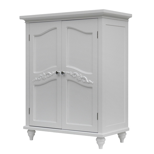 Bathroom Linen Storage Floor Cabinet with 2-Doors in Traditional White Wood Finish, BFCBW418156 :  Make optimum use of the available space with this Bathroom Linen Storage Floor Cabinet with 2-Doors in Traditional White Wood Finish. The traditional style of the cabinet adds a touch of elegance to the home decor. This cabinet is made from manufactured wood, which makes it durable and sturdy. The cabinet is available in multiple finishes, letting you choose the one that best suits the home decor. This cabinet has two shelves that can be adjusted as per your needs. It provides ample space to accommodate your storage needs. The shelves can be used to store expensive linens. Each shelf has a weight capacity of 15 lbs. This cabinet has an intricate pattern on the doors that add to its style-quotient. The cabinet is equipped with four legs that provide additional stability to its free-standing structure. The elegant door handles enhance the aesthetic appeal of the cabinet. The Dark Espresso Wood Bathroom Floor Cabinet with Traditional Crafted Engraving Doors makes a stellar addition to your home. It requires some assembly. This cabinet can be easily wiped clean with a soft and damp cloth to ensure that it looks as good as new for a long time. This helps maintain its original appearance for years to come. Adjustable inner shelves; Easy storage for tall objects; Door magnet and hinges are pre-hung; Can be painted; Hardware Material: Metal; Drawers Included: No; Product Warranty: 1 year free from manufacture defects. Free replacement parts to cover those defects.