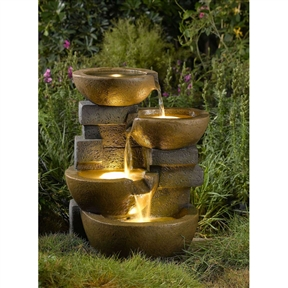 Indoor / Outdoor 4-Tier Pots Water Fountain with LED Lights, PFT1507 :  This Indoor / Outdoor 4-Tier Pots Water Fountain with LED Lights would be a great addition to your home. A simple yet beautiful fountain, this distressed look will make the perfect addition to your home or garden! Use for outdoor / indoor; Pump and LED light included; Output: 110V; Line cord: 17 ft.