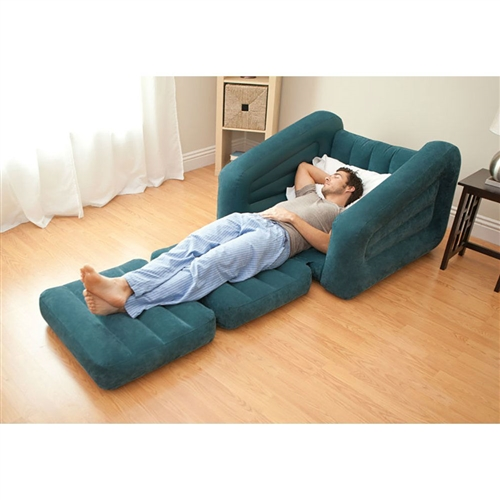 Built for versatility, the Inflatable Twin Bed/Lounge Teal Pull-out Chair Bed Indoor/Outdoor is designed for relaxing just about anywhere, whether you are camping or at home. Watch TV, read a book, or just relax in the chair and then pull out the cushion into a twin size air mattress when you are ready to go to sleep. Inflates and is ready to go in minutes! The Pull-Out Chair is constructed with high quality vinyl and engineered for comfort. It's ideal for college dorms, guest bedrooms or even road trips. The incredible versatility and durability makes the Pull-Out Chair a must-have for any home.