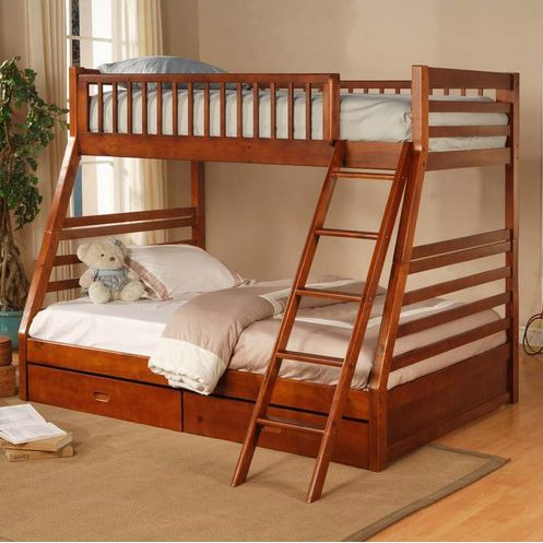 This Twin over Full Bunk Bed with Storage Drawers in Oak Finish would be a great addition to your home. Also, it has an oak finish and casual style.
