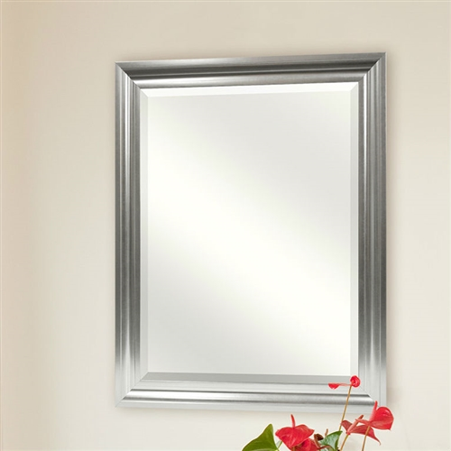 This Rectangular Beveled Vanity Mirror with Satin Silver Finish Frame would be a great addition to your home. It has a satin silver finish and is bevel cut.