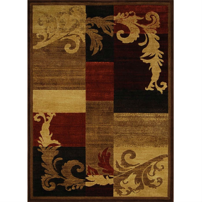 5'3 x 7'2 Area Rug in Brown Red Black with Damask Style Pattern, CLBAR67143 :  This 5'3 x 7'2 Area Rug in Brown Red Black with Damask Style Pattern would be a great addition to your home. It is made by a woven technique and BCF material. Primary Color: Multi Colored; Type of Backing: Jute; Material: Synthetic; Reversible: No; Rug Pad Needed: Yes; Eco-Friendly: No; Outdoor Use: No; Product Care: Vacuum frequently; Country of Manufacture: Turkey.