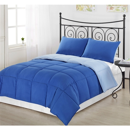 Whether you are looking for a comforter to match your diehard obsession with a sports team or just like to change things up, this King/CAL King size 3-Piece Light Blue/Royal Blue Microfiber Comforter Set with 2 Shams is for you! This comforter is filled with down alternative fiber for those of you who are allergic to feathers but long for the warmness, style and coziness of a down filled comforter. This Comforter has all the right ingredients; Soft, Colorful, Comfy and AFFORDABLE. The Reversible Down Alternative Comforter is made from micro fiber and is as soft as goose down. Lastly, it is constructed using a box stitching design to avoid any shifting of the fill. Machine washable! You have our word that we will do everything that we can to make sure returning your product is not necessary. However, should the need arise for any reason, please contact us to obtain authorization for a full refund or exchange if you have any issues with your product.