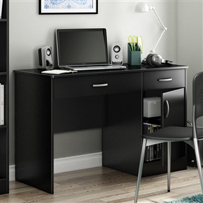 This Home Office Work Desk in Black Finish is a practical and handsome addition to any room. Ideal for checking email or pay bills on your laptop, this desk has simple lines and plenty of enclosed storage. Small enough to fit any space, this desk is made of sturdy laminate with a pure black finish. It has a two drawers and one cupboard door that opens to reveal an adjustable shelf. The desktop offers a spacious working area and a wire management cut-out at the back keeps cords in check.