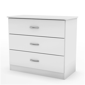 This White Modern Bedroom Chest Dresser with 3 Drawers coordinates with virtually any décor thanks to its contemporary styling and sleek and simple lines. Fully functional and adaptable, it will meet all your needs — from clothes storage in its three spacious drawers, to serving as a stand for your various decorative items, or even as a solid base for your TV. It has also been designed with safety in mind, featuring rounded corners. Antique finish metal handles are adding value to the furniture. This chest is made of recycled CARB compliant particle pannels. The glides are made of polymer and include dampers and catches, creating a secure environment for little ones.
