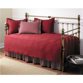 This 5-Piece Daybed Comforter and Bedding Set in Scarlet Red will complete any room! The set includes a Embroidered quilt with scalloped edges, 2 tailored quilt shams, one plaid standard shams with a 2inch ruffle on all edges and a bed skirt with ruffles that feature split corners with overlap. This complete bed set will instantly update your room!