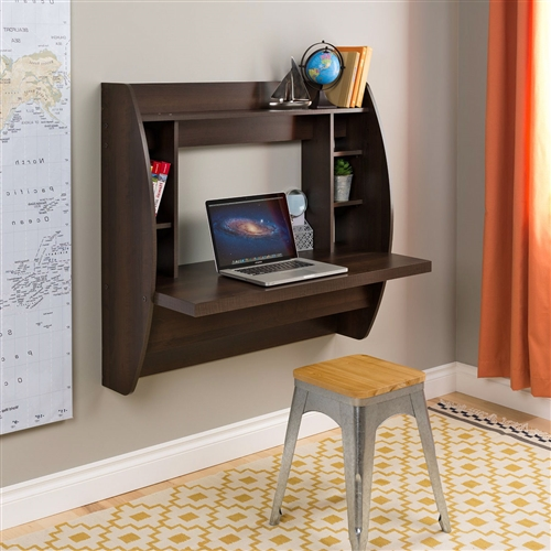 Optimize your space with this Wall Mount Space Saving Modern Laptop Computer Desk in Espresso innovative and stylish wall mounted desk. Perfectly suited for any home office, den, living room, kitchen or entryway. The stable work surface is perfect for your computer or simply as a place to get your work done. The side compartments and top shelf provide functional storage and visual appeal. Installation is a breeze with this innovative metal hanging rail system. Proudly manufactured in North America using CARB-compliant, laminated composite wood. Ships Ready to Assemble, includes an instruction booklet for easy assembly and has a 5-year manufacturer's limited warranty.