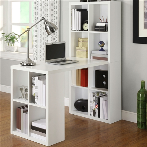 Calling all storage lovers! This Home Office Laptop Computer Desk Writing Table with Storage in White Wood Finish should tickle your fancy with the 12 storage cubbies. It has plenty of space to store craft supplies, paper, binders, books, or bins. It can work as a sewing and craft space or an office desk. With the Large work surface, you can spread out your supplies to get whatever you need done. Top Material: Manufactured Wood; Base Material: Manufactured Wood; Number of Exterior Shelves: 4; Product Care: Preferred furniture polish, soft cloth, do not use harsh chemicals or abrasive cleaners; Country of Manufacture: China; Weight Capacity: 200 Pounds; Product Warranty: Limited 1 year warranty; CARB Compliant: Yes; GSA Approved: No.