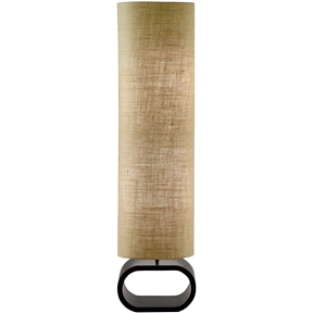 Cylinder Shape Medium Brown Burlap Floor Lamp with Bent Wood Base, AHFLB10051 :  This Cylinder Shape Medium Brown Burlap Floor Lamp with Bent Wood Base has a black painted oval bent wood base. It is topped by a hard backed oval cylinder shade in medium brown burlap. Comes with a foot step switch. 2 (two) 60-Watt incandescent or 13-Watt CFL bulbs can be used. 47-inch height, Open oval base: Black painted oval bent wood base; Cylinder shade in medium brown burlap; Comes with foot step switch.