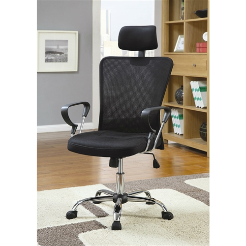 This High Back Executive Mesh Office Computer Chair with Headrest in Black features a slender design that makes it perfect for an office environment. This executive office chair has a deep backrest and a plush seat for a comfortable seating experience. It even features a well-padded headrest and strong armrests. Ergonomically designed and extremely stylish, this chair is the perfect choice for your home office or study. This High Back Executive Mesh Office Computer Chair with Headrest in Black is made using premium-quality materials that keep it strong and sturdy. Sporting a metal frame, this office chair is stable and long lasting. The backrest section of the chair is covered in mesh fabric, while the headrest and seat are cushioned and covered in high-quality fabric. Featuring a black color, this executive chair blends seamlessly with any office furniture, irrespective of the color scheme. This High Back Executive Mesh Office Computer Chair with Headrest in Black has a strong metal base that offers maximum support and stability to the structure. The base is completed with caster wheels that ensure ease at mobility. This office chair is easy to clean and maintain. Regularly wipe the chair with a clean, dry cloth and it will look as good as new for years together.