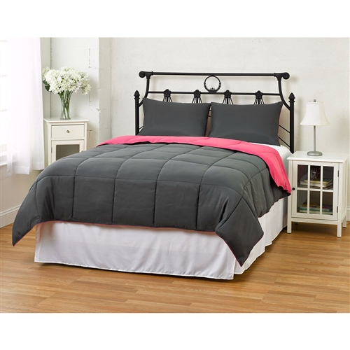 Whether you are looking for a comforter to match your diehard obsession with a sports team or just like to change things up, this King/CAL King size 3-Piece Grey Pink Microfiber Comforter Set with 2 Shams is for you! This comforter is filled with down alternative fiber for those of you who are allergic to feathers but long for the warmness, style and coziness of a down filled comforter. This Comforter has all the right ingredients; Soft, Colorful, Comfy and AFFORDABLE. The Reversible Down Alternative Comforter is made from micro fiber and is as soft as goose down. Lastly, it is constructed using a box stitching design to avoid any shifting of the fill. Machine washable! You have our word that we will do everything that we can to make sure returning your product is not necessary. However, should the need arise for any reason, please contact us to obtain authorization for a full refund or exchange if you have any issues with your product.