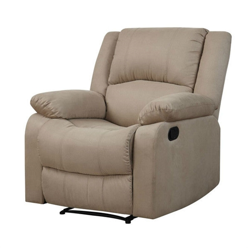 Sit and relax in this Beige Microfiber Upholstered Recliner Chair. Whether you are sitting or reclining the warren is the perfect addition to your living room. Solid hardwood frame with metal hardware and springs, foam padding and brushed polyester microfiber upholstery. Design: Standard Recliner; Swivel: No; Assembly Required: Yes; Style: Traditional; Coils or Springs: Yes; Seating Comfort: Soft; Medium;  Cushion or Upholstery Fill Material: Foam; Removable Seat Cushion: No;  Removable Back Cushion: No. Rocker: No. Wall Hugger: No.  Power Recline: No. Number of Reclining Positions: 1 . Reclining Mechanism Details: Push Back Mechanism; Recline Angle: 35 Degrees;  Footrest Included: Yes; Back Type: Tight back; Arm Type: Pillow top arms; Nailheads: No. Storage: No.