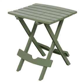 Sage Green Patio Side Table - Holds up to 25-Pounds,  SGPT84151 :  This Sage Green Patio Side Table - Holds up to 25-Pounds provides a perfect accent table for the patio or pool, holding laptops, books, sunglasses, and more. Folds flat for out-of-the-way storage, making it the perfect accessory for camping or fishing trips. Use it in tight spaces, like dorm rooms where space is at a premium. Weighing in at only 3-pound , it easily supports up to 25-pound Proudly made in the USA. Durable resin material will not peel, rust, or rot; Uv-inhibitor allows colors to stay bright and attractive in the sun.