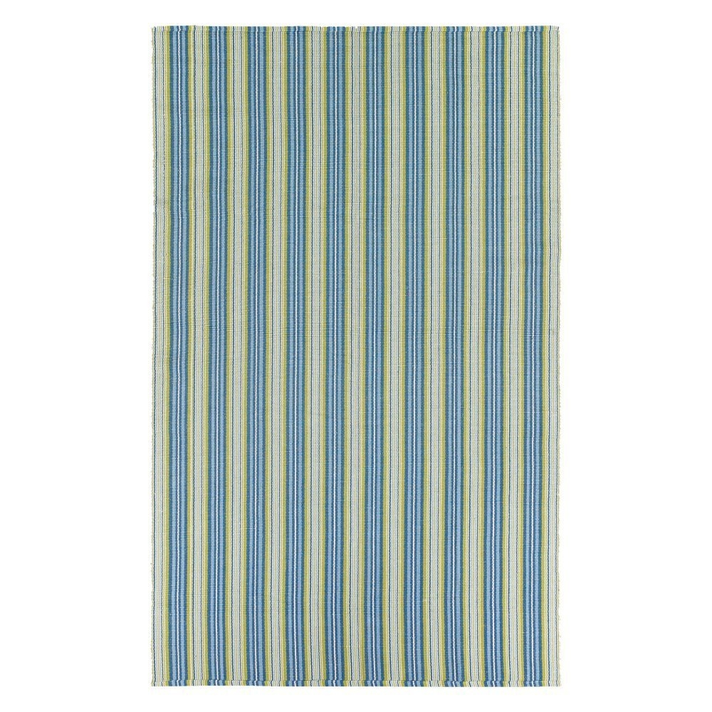 3' x 5' Green Blue Stripe Flat Woven Area Rug, CBHA391513 :  For a relaxed-casual look that instantly creates an atmosphere of welcoming fun, 3' x 5' Green Blue Stripe Flat Woven Area Rug delivers a cheery array of striped designs that infuse any interior with a refreshing verve. Perfect for homes with a coastal living design influence, these bright and bold fashions add an exciting pop of color that enlivens spaces and brings a sense of charm. With whimsical names, like Lollipop, Lemon Drop and Gelato, decorators are sure to find a sweet spot for all nine. Flat woven of soft 100 percent cotton, Bar Harbor area rugs are both reversible and machine-washable, making them an ideal selection for busy areas of the home such as kitchens, dining areas and even kid's rooms. Hand-woven with all-natural materials, these biodegradable rugs also have an eco-chic appeal and can be incorporated into homes with a 'green' theme. Featuring a high-quality construction, this is crafted with a heavy weight to ensure that the rugs lie flat and do not curl at the ends. These Rugs Pass All U.S. Flammability Standards
