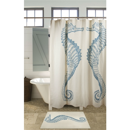 "Seahorse Shower Curtain Beach Ocean Style 100% Cotton, SCS5198815 : This Seahorse Shower Curtain Beach Ocean Style 100% Cotton would be a great addition to your home. 2"" Bottom hem and standard loop holes; Number of Hook Holes: 12; Stitch Reinforced Hook Holes: Yes; Washing Care: Machine wash; Theme: Wildlife; Pattern: Animal print; Country of Manufacture: India."