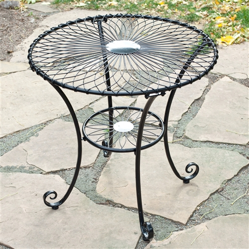 Gloss Black Steel 30-inch Round Outdoor Patio Bistro Table - Seats 2-3 People, BRC519841362 :  Charming on a porch and functional anywhere, this Gloss Black Steel 30-inch Round Outdoor Patio Bistro Table - Seats 2-3 People make a fantastic addition to your outdoor living space. Crafted of steel, this table features a decorative, eye-catching spiral design on the tabletop and on the leg brace. It's available in a choice of gloss finishes and will comfortably seat two or three people. Durable and weather-resistant - great by the pool! Material Steel; Style Poolside, French, Bistro Table; Table Finish White, Black; Table Top Material. Steel