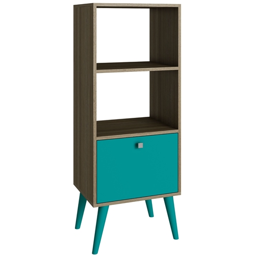 Splayed legs and 2 open shelves give this Modern Bookcase with Mid-Century Style Wood Legs in Oak Aqua Finish stylish sophistication, while its 2-tone finish adds a touch of contemporary appeal. Use it to add distinctive style to the den, then round it out with your favorite novels and framed family photos. Perfect piece to enhance your living and bedroom environment; Fluorescent and vibrant colors; Product Type: Standard; Frame Material: Wood; Frame Material Details: MDP (medium density particleboard).