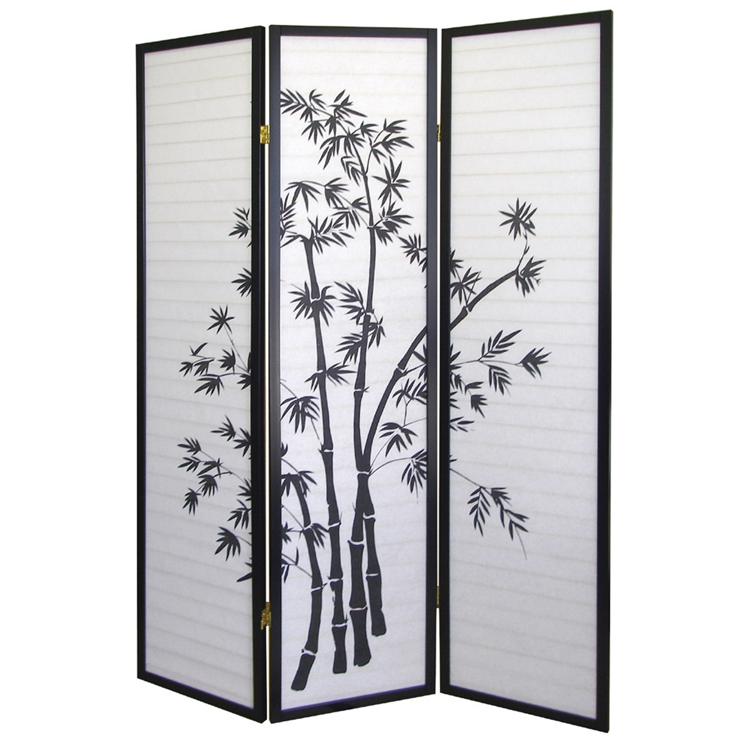 3-Panel Room Divider Privacy Screen with Bamboo Design Black White,  BWRD7905 :  This 3-Panel Room Divider Privacy Screen with Bamboo Design Black White would be a great addition to your home. It has a black finish and can create privacy, add texture or define a space with this handsome room divider. Frame material: Wood; Paper Panel features lovely bamboo silhouettes; Folds flat for easy storage; Black finish; Product Type: Folding; Style: Art print; Asian/Shoji; Theme: Asian; Floral; Color: 1: Black; Color: 2: Grey; Primary Material: Wood. Photo Display Included: No; Shelves Included: No; Number of Panels: 3; Blinds Included: No ; Hand Carved: No; Hand Painted: No; Outdoor Use: No; Country of Manufacture: China.