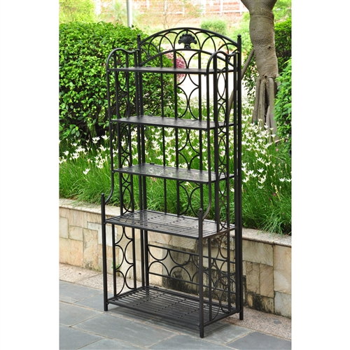 This Indoor / Outdoor Wrought Iron Metal Bakers Rack 5-Shelf Plant Stand can serve many different roles within your home. The five shelves offer extra space for dishes in the kitchen, or candles and decorations in the entryway. You can also use this baker's rack out on your patio to display potted plants or store garden accessories. Crafted from iron, this durably constructed baker's rack comes in a variety of stylish finishes to complement your existing decor. The arching top and curved design elements add a touch of elegance to the straight barred shelves and squared posts. Both traditional and modern, this versatile bakers rack will make a fine and functional addition to your home.