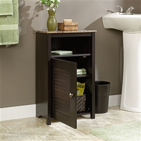 """Bathroom Floor Cabinet with Shelf and Faux Granite Top, SPBC45731 :  This Bathroom Floor Cabinet with Shelf and Faux Granite Top would be a great addition to your home. It has a reversible door that can be set up to open left or right and is made with engineered wood. Adjustable shelf behind lower louvered style door; Tack glides to lift item off floor to protect against wet floors; Resists heat, stains and scratches; Phase 2 compliant; Made in the USA. Finish: Cinnamon cherry; Faux-granite finish shelf; EverSheen top provides clear, durable finish; Number of Doors: 1; Number of Handles: 1; Assembly Required: Yes.  Tools Needed for Assembly: Phillips screwdriver, hammer, and electric drill with 1/4"""" bit; Product Warranty: 5 Years; Style: Traditional; Handle Location: Door; Adjustable Shelves: Yes; ASTM Compliant: Yes; Installation Required: No; Door Configuration: Left Door; Right Door. Glass Panel Door: No; Handle Finish: Antique bronze; CPSIA or CPSC Compliant: Yes; Hardware Finish: Antique brass; CSA Certified: Yes; EPP Compliant: Yes; EPA/CPG Compliant: Yes; General Conformity Certificate: Yes; Primary Material: Manufactured wood."""