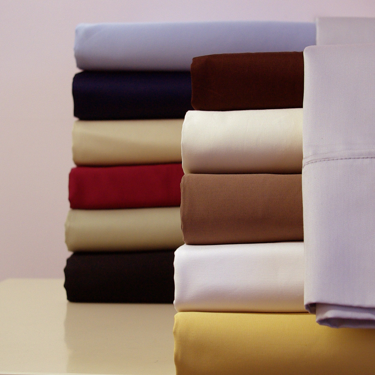 Royal Tradition. 300 Thread count Solid 100-Percent Egyptian cotton. Wrap yourself in the Softness of the luxurious 300 Thread count, 100% Egyptian cotton sheets like those found in World Class Hotels. Imported from the Land of Cleopatra, these fine luxury bed linens are carfted from long staple Giza cotton grown in the Lush Nile River Valley since the time of the Pharaohs. Comfort, quality and opulence set our luxury bedding in a class above the rest. Elegent yet durable, their softness is enhanced with each washing.