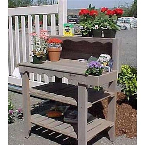 Red Finish Cedar Wood Potting Bench Garden Storage Outdoor Bakers Rack Table,  RCWG65818145 :  You can use this potting bench just about anywhere. This Red Finish Cedar Wood Potting Bench Garden Storage Outdoor Bakers Rack Table has many uses around your home both in and around the garden. The captivating design of Deluxe Potting Bench is great for entertaining and barbecuing- but it is especially suited for gardening. This charming, compact design will store your gardening tools, pots, etc., and it has a towel/tool bar and bins for 4 inch pots or seed packets. Get even more storage with upper shelf and two lower shelves. Durable Cedar wood construction; Cedar is rot-, warp-, and mold-resistant; Great for use as an outdoor bakers rack; Choose from several finish options; Features a large, uncluttered workspace; 2 lower shelves for storing pots and soil; Side tray and top shelf offer extra storage; Shape Rectangle; Style Traditional.