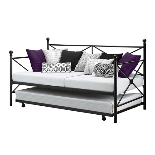 Twin size Black Metal Day Bed Frame and Roll out Trundle Set: Product Code: TDBD516518591 : Play the perfect hostess with this Twin size Black Metal Day Bed Frame and Roll out Trundle Set. Line plush throw pillows along the crisscross metal frame to create a cozy and colorful sofa for daytime. A trundle bed rests beneath, ready to be pulled out for spontaneous weekend guests. Space-saving functionality; Crisscross design adorned with circular medallions; Round finial posts; Black metal frame; Includes daybed with roll-out trundle; Trundle includes four casters - 2 locking and 2 non-locking; Accommodates two (2) twin mattresses; Metal slats included for support and durability; Additional foundation not required; pop up trundle can be used with the daybed; the pop up trundle is sold separately. Style: Contemporary; Country of Manufacture: China.